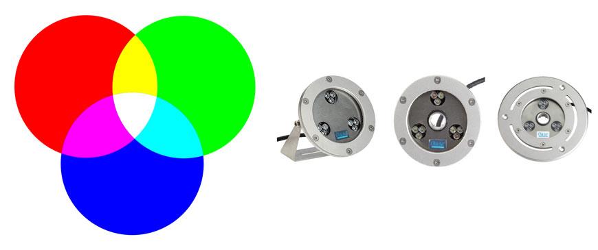 Iluminación led RGB para fuentes